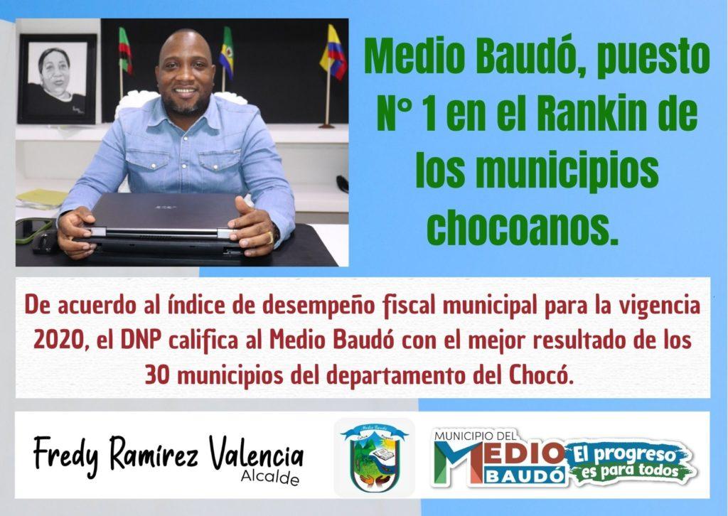 De acuerdo al índice de desempeño fiscal municipal para la vigencia 2020, el DNP califica al Medio Baudó con el mejor resultado de los 30 municipios del departamento del Chocó. - Noticias de Colombia