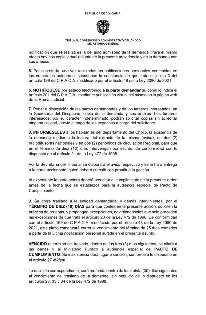 El Tribunal Administrativo del Chocó comunica a los miembros del grupo de todo el territorio nacional, que admitió la demanda bajo el medio de control de Protección de los derechos e intereses colectivos, promovido por la Procuraduría 86 Judicial I Administrativa, contra la nación. | Noticias de Buenaventura, Colombia y el Mundo